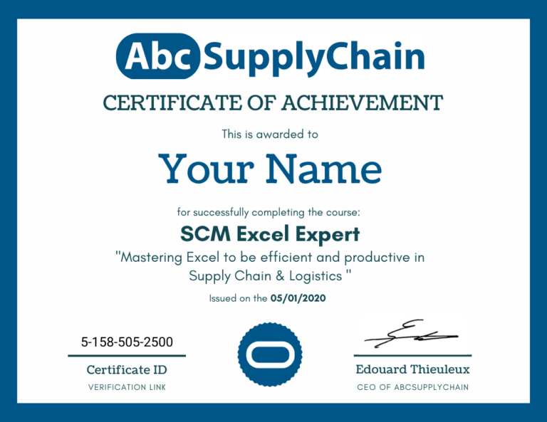 certificat supply chain excel