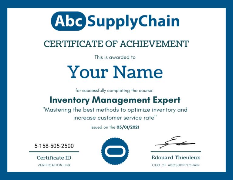 certificat supply chain gestion de stock