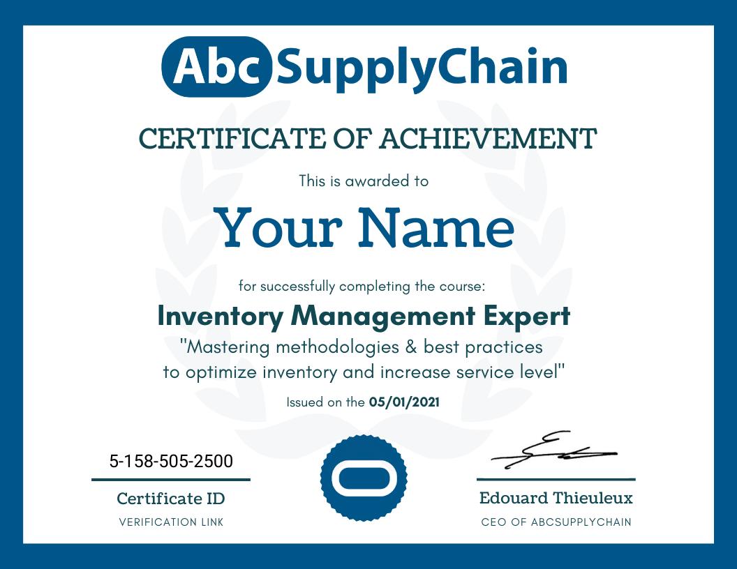 certificat diplome supply chain gestion de stock approvisionnement logistique