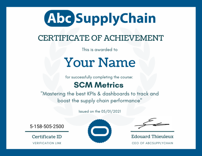 certificat supply chain logistique kpis indicateur