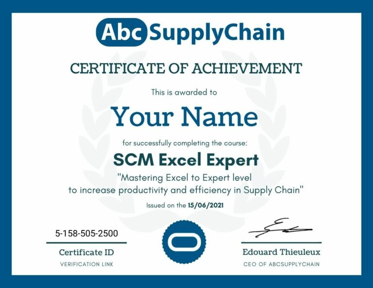 formation excel diplome supply chain